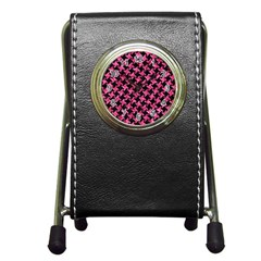 Houndstooth2 Black Marble & Pink Marble Pen Holder Desk Clock by trendistuff