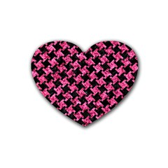 Houndstooth2 Black Marble & Pink Marble Rubber Heart Coaster (4 Pack) by trendistuff