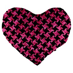 Houndstooth2 Black Marble & Pink Marble Large 19  Premium Heart Shape Cushion