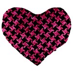 HOUNDSTOOTH2 BLACK MARBLE & PINK MARBLE Large 19  Premium Heart Shape Cushion Front