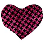 HOUNDSTOOTH2 BLACK MARBLE & PINK MARBLE Large 19  Premium Heart Shape Cushion Back