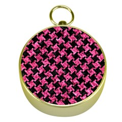 Houndstooth2 Black Marble & Pink Marble Gold Compass by trendistuff