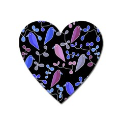 Flowers And Birds   Blue And Purple Heart Magnet by Valentinaart