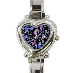 Flowers And Birds   Blue And Purple Heart Italian Charm Watch by Valentinaart
