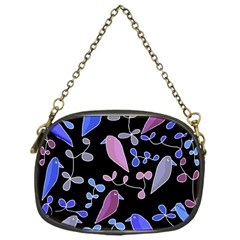 Flowers And Birds   Blue And Purple Chain Purses (one Side)