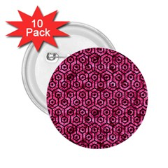 Hexagon1 Black Marble & Pink Marble (r) 2 25  Button (10 Pack) by trendistuff