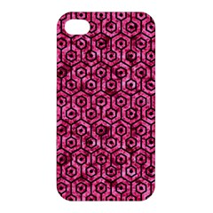 Hexagon1 Black Marble & Pink Marble (r) Apple Iphone 4/4s Premium Hardshell Case by trendistuff