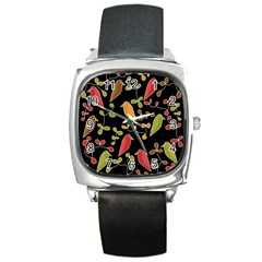 Flowers And Birds  Square Metal Watch by Valentinaart