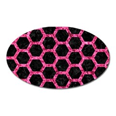 Hexagon2 Black Marble & Pink Marble Magnet (oval) by trendistuff