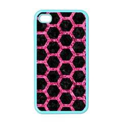 Hexagon2 Black Marble & Pink Marble Apple Iphone 4 Case (color) by trendistuff