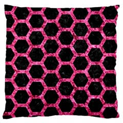 Hexagon2 Black Marble & Pink Marble Large Flano Cushion Case (one Side) by trendistuff