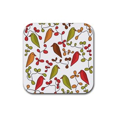 Birds And Flowers 3 Rubber Square Coaster (4 Pack)  by Valentinaart