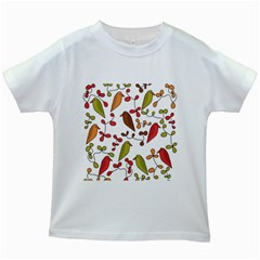 Birds And Flowers 3 Kids White T Shirts by Valentinaart