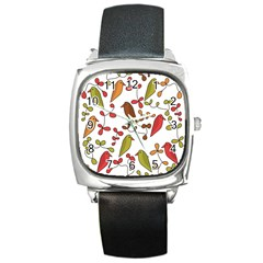 Birds And Flowers 3 Square Metal Watch by Valentinaart