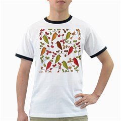 Birds And Flowers 3 Ringer T Shirts