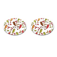Birds And Flowers 3 Cufflinks (oval) by Valentinaart