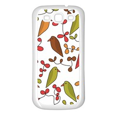 Birds And Flowers 3 Samsung Galaxy S3 Back Case (white) by Valentinaart