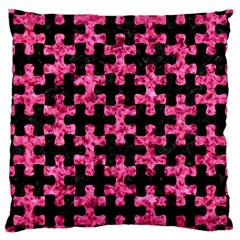Puzzle1 Black Marble & Pink Marble Large Cushion Case (two Sides) by trendistuff