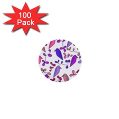 Flowers And Birds Pink 1  Mini Buttons (100 Pack)  by Valentinaart