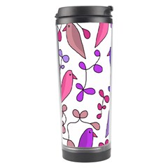 Flowers And Birds Pink Travel Tumbler by Valentinaart