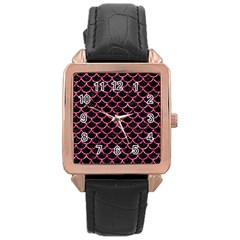 Scales1 Black Marble & Pink Marble Rose Gold Leather Watch  by trendistuff