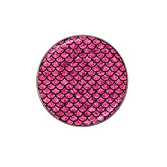 Scales1 Black Marble & Pink Marble (r) Hat Clip Ball Marker by trendistuff