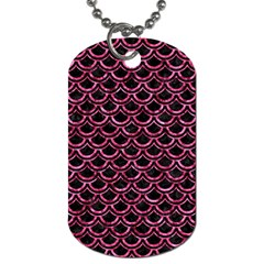 Scales2 Black Marble & Pink Marble Dog Tag (one Side) by trendistuff