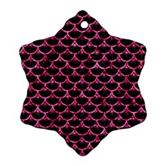 Scales3 Black Marble & Pink Marble Snowflake Ornament (two Sides)