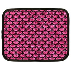 Scales3 Black Marble & Pink Marble (r) Netbook Case (large) by trendistuff