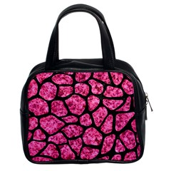Skin1 Black Marble & Pink Marble Classic Handbag (two Sides)