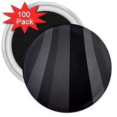Black Minimalistic Gray Stripes 3  Magnets (100 Pack)
