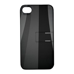 Black Minimalistic Gray Stripes Apple Iphone 4/4s Hardshell Case With Stand by AnjaniArt