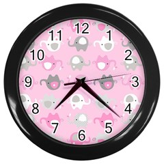 Animals Elephant Pink Cute Wall Clocks (black) by AnjaniArt