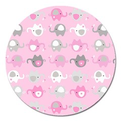 Animals Elephant Pink Cute Magnet 5  (round) by AnjaniArt