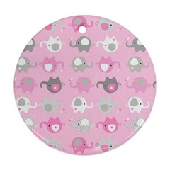 Animals Elephant Pink Cute Round Ornament (two Sides)