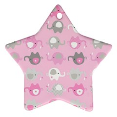 Animals Elephant Pink Cute Star Ornament (two Sides)  by AnjaniArt