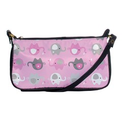 Animals Elephant Pink Cute Shoulder Clutch Bags by AnjaniArt