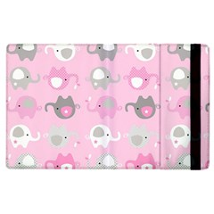 Animals Elephant Pink Cute Apple Ipad 3/4 Flip Case by AnjaniArt