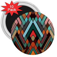 Abstract Mosaic Color Box 3  Magnets (10 Pack)