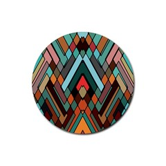 Abstract Mosaic Color Box Rubber Round Coaster (4 Pack)  by AnjaniArt