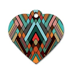 Abstract Mosaic Color Box Dog Tag Heart (two Sides) by AnjaniArt