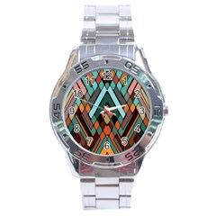 Abstract Mosaic Color Box Stainless Steel Analogue Watch