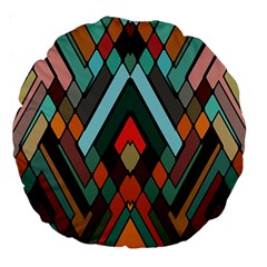 Abstract Mosaic Color Box Large 18  Premium Round Cushions