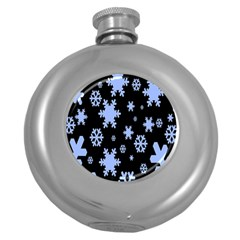 Blue Black Resolution Version Round Hip Flask (5 Oz)