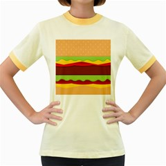 Cake Cute Burger Copy Women s Fitted Ringer T Shirts