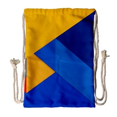 Box Yellow Blue Red Drawstring Bag (large) by AnjaniArt
