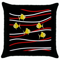 Five Yellow Fish Throw Pillow Case (black) by Valentinaart