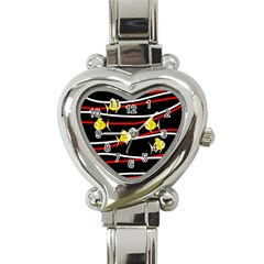 Five Yellow Fish Heart Italian Charm Watch by Valentinaart