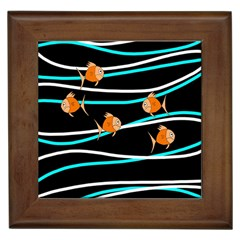 Five Orange Fish Framed Tiles