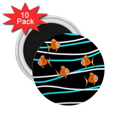 Five Orange Fish 2 25  Magnets (10 Pack)  by Valentinaart